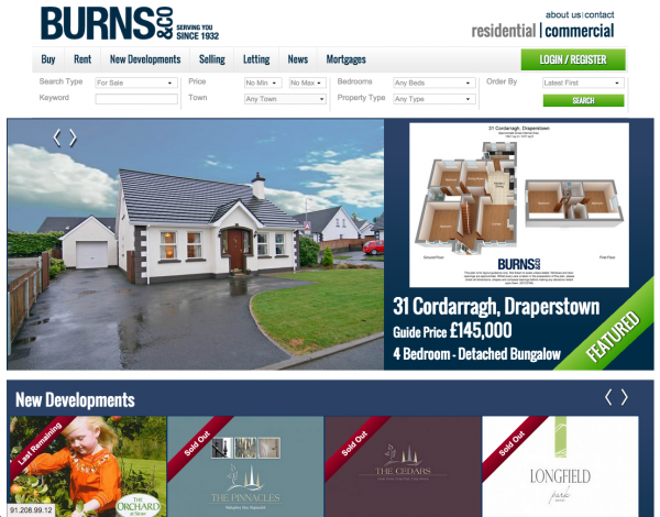 Burns & Co Website design and development